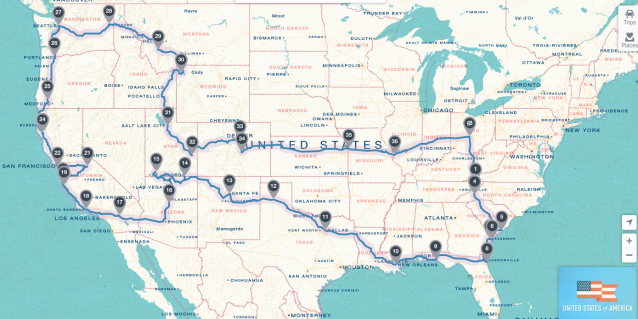 Almost 10,000 miles across the country and back.