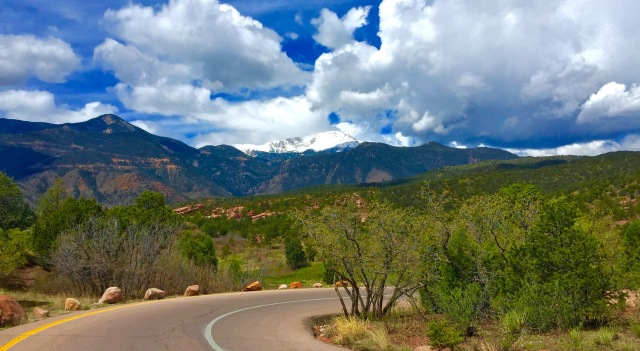A glimpse of Pikes Peak from the Garden of the Gods.  Colorado Springs, CO