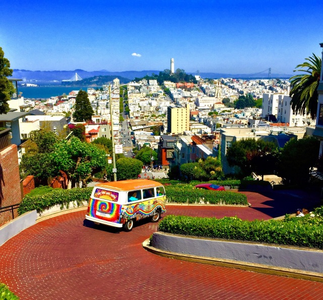 Followed the Love Bus down Lombard Street, the most crooked street in the world, in San Francisco, CA