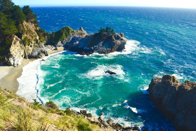 McWay Falls in Big Sur, California.  The beach is off limits, but the view is enough to drop the jaw.