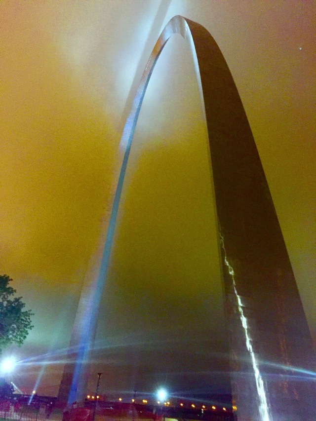 On a rainy, foggy night - Walked through the the Gateway to the West backwards as we headed home to Ohio